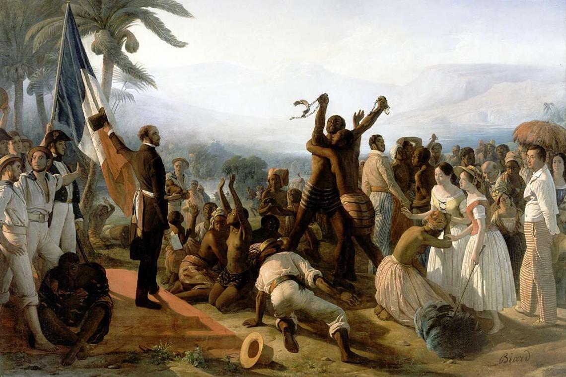 Scène de l'abolition de l'esclavage dans les colonies françaises