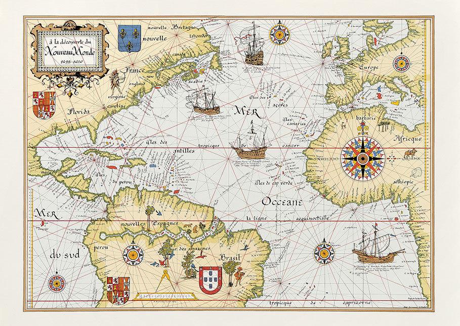 Carte du nouveau monde et du bassin de la Caraïbe