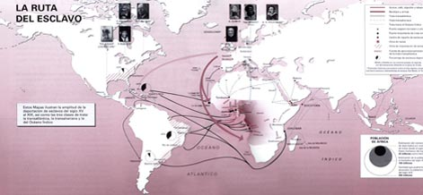 Mapa de la ruta del esclavo de la UNESCO