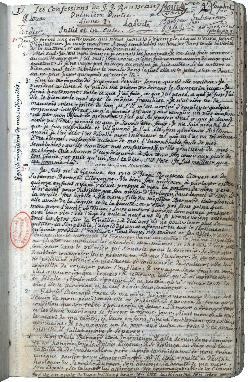 Manuscrit des Confessions de Rousseau. Source gallica.bnf.fr  Bibliothèque nationale de France.
