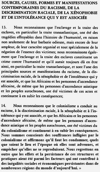 Articles 13 et 14 de la Conférence de Durban contre le racisme