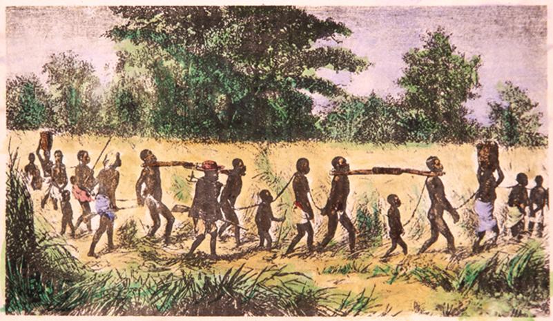 Capture et convois d'esclaves en Afrique.