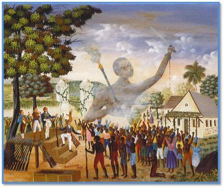 Sontonax distribuant des armes aux esclaves – Tableau de Eddy Jacques - Collection Haïti 500 ans d'histoire