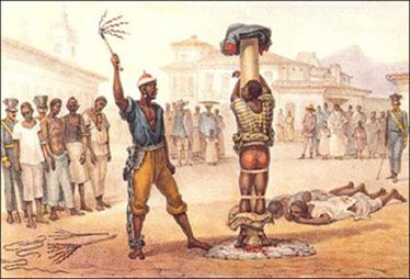 Scène de punition d'esclave sur la place d'un village