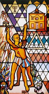 Vitrail évoquant l'esclavage - Eglise d'Embermenil